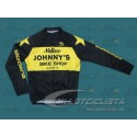 Maillot manga larga Mellow Johnny's Bike Shop Negro/Amarillo