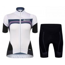 2017 Santini Queen Of The Mountains De las mujeres Blanco  (Maillot y Culotte con tirantes)