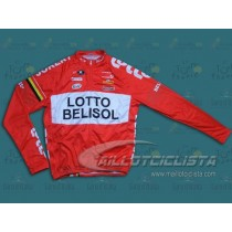 Maillot manga larga 2014 Team Lotto - Belisol rojo